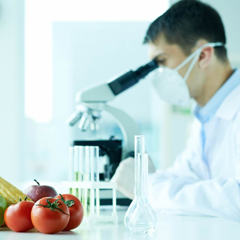 Young scientist researching vegetables with a microscope